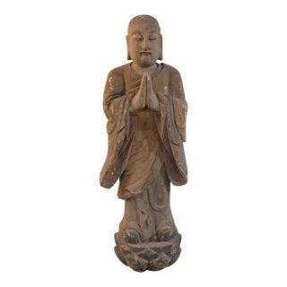 Wooden Monk Sculpture For Sale
