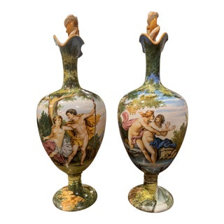 Pair of 19th Century Italian Carved Painted Ceramic Vases From Venice For Sale