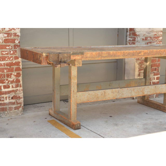 Early 20th Century Early 20th Century Impressive Industrial Workbench With Cast Iron Vise For Sale - Image 5 of 9