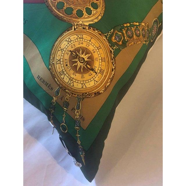Green Enormous Hollywood Regency Style Hermes 'Parmi Les Fleurs' Silk Stuffed Pillow For Sale - Image 8 of 11