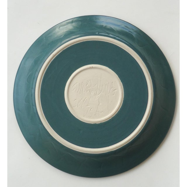 Organic Modern Moon Over Seascape Studio Green Pottery Platter For Sale - Image 4 of 6