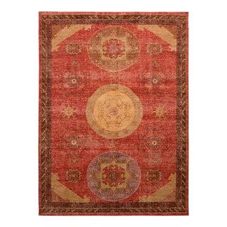Khotan Style Rug Distressed Red Beige Medallion Pattern by Rug & Kilim