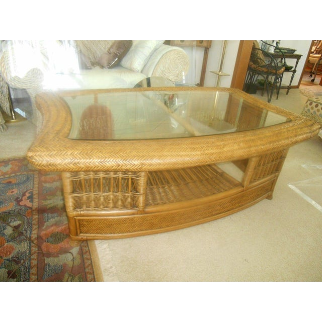 Fendi Palm Beach Regency Wicker Coffee Table - Image 4 of 7