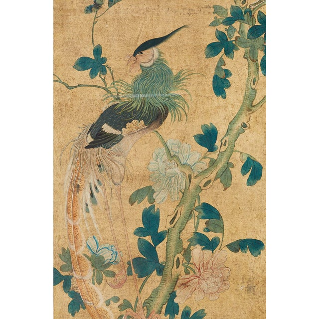 Canvas Continental Painted Chinoiserie Wallpaper Screen With Decoupage For Sale - Image 7 of 13