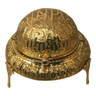 1920s Art Deco Gold Footed Pharaoh Ashtray With Lid For Sale