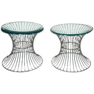WONDERFUL PAIR OF TABLES WITH TRUMPETING WIRE BASES BY WARREN PLATNER FOR KNOLL For Sale