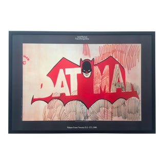 """Andy Warhol Rare Vintage 1990 Lithograph Print Large Framed Collector's Pop Art Italian Exhibition Poster """" Batman """" 1960 For Sale"""