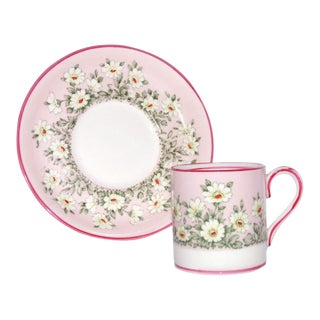 1930s Staffordshire Fine Bone China Miniature Pink Daisies Cup & Saucer For Sale