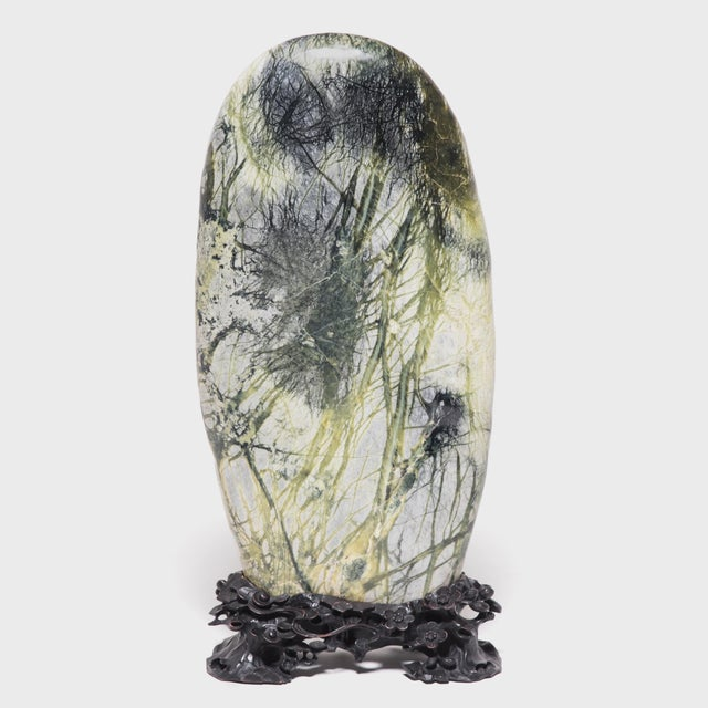 Greenery Meditation Stone in Carved Stand For Sale In Chicago - Image 6 of 6