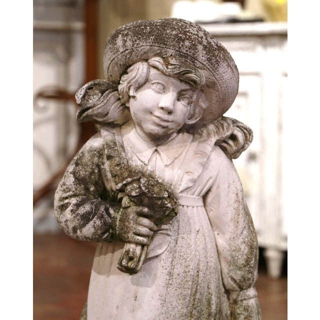 French 19th Century French Weathered Cast Concrete Garden Girl & Wheelbarrow Sculpture For Sale - Image 3 of 12