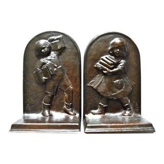 1922 Antique Gorham Children Motif Bookends - a Pair For Sale