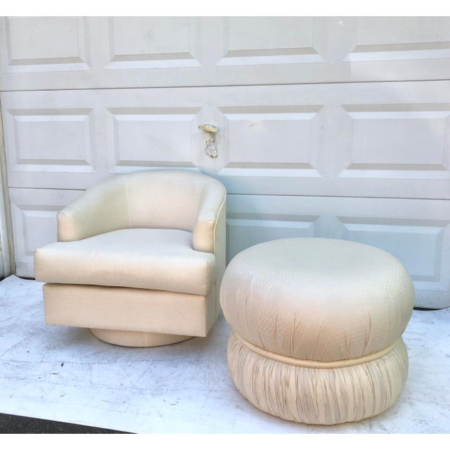 Modern Swivel Club Chair With Matching Pouf Ottoman For Sale In New York - Image 6 of 10