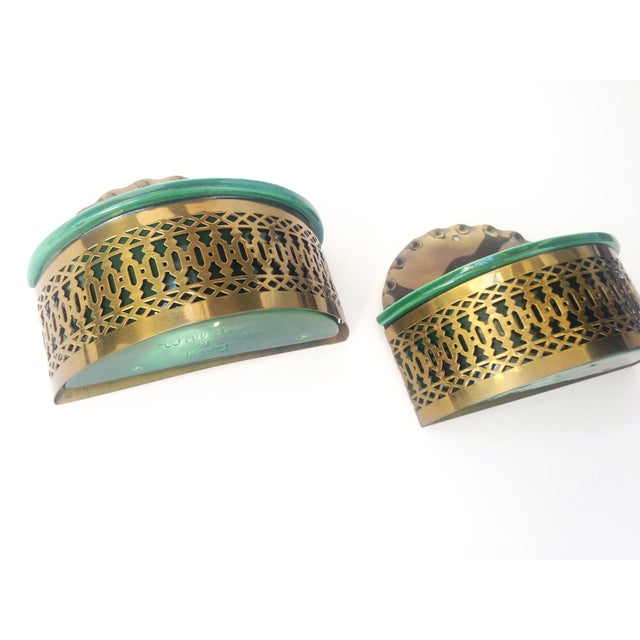 Vintage Brass & Ceramic Wall Pockets - A Pair - Image 2 of 4