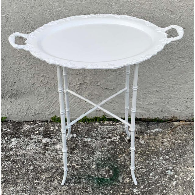 Asian Faux Bamboo and Grape Motif White Enameled Tray Table, Provenance Celine Dion - a Pair For Sale - Image 3 of 10