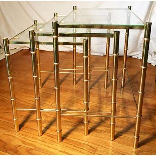 Hollywood Regency Faux Bamboo Brass & Glass Nesting Tables - S/3 - Image 3 of 6