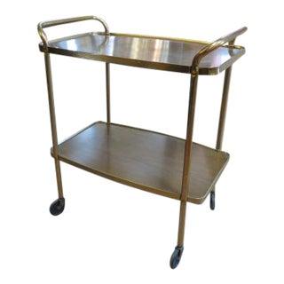 1960 Vintage Mid Century Modern Brass/Walnut Laminate Bar Cart For Sale