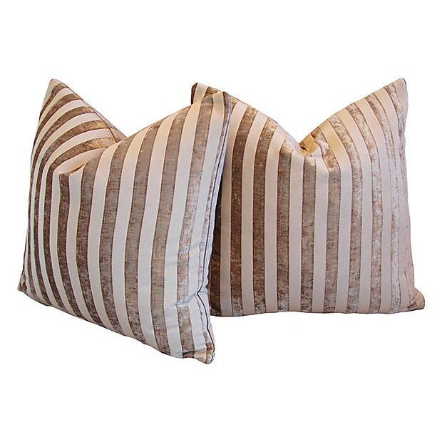 "French Designer French Velvet Striped Feather & Down Pillows 24"" Square - Pair For Sale - Image 3 of 8"
