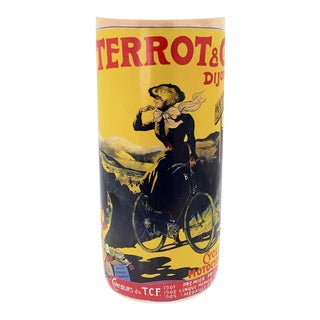 Vintage Porcelain Umbrella Stand With Terrot & Company Cycle & Motorcycle Advertising Poster For Sale