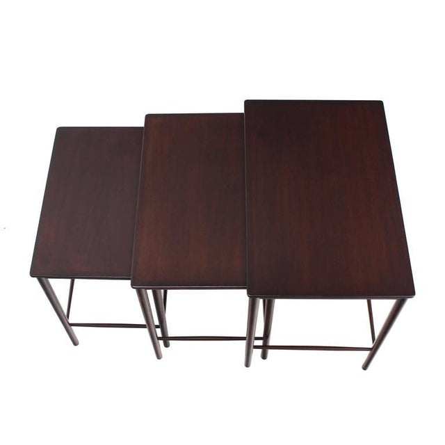 Early 20th Century Very Nice Set of Three Rosewood Danish Nesting Tables For Sale - Image 5 of 9