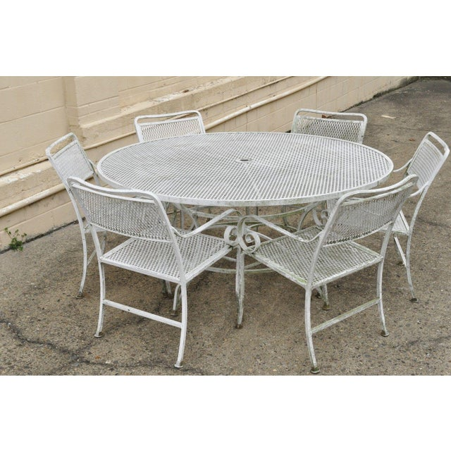 Late 20th Century Vintage Cast Aluminum Scroll Arm Metal Patio Dining Table & Chairs - Set of 7 For Sale - Image 10 of 13