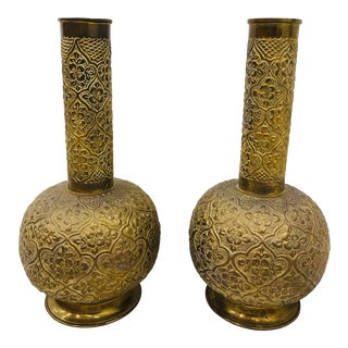Pair Antique Brass Vases For Sale
