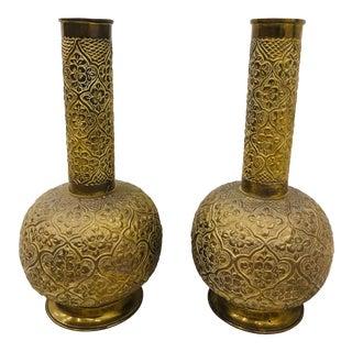 Pair Antique Brass Vases For Sale