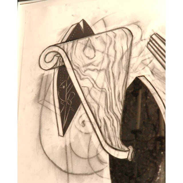 Large Charcoal and Vermilion Pastel Drawing by John Monti For Sale In Los Angeles - Image 6 of 9