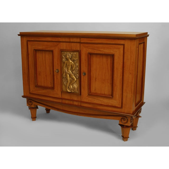 Mahogany French Art Deco Satinwood And Mahogany With Gilt Trim Door Commode For Sale - Image 7 of 7