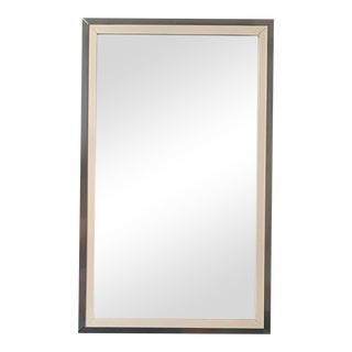 Mid-Century Modern White Lacquered and Chrome Mirror For Sale