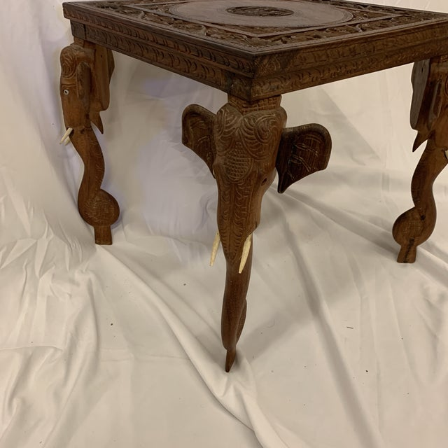 Boho Chic Anglo Indian Rosewood Elephant Accent Table For Sale - Image 3 of 11