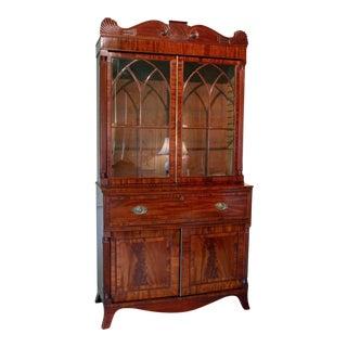 English William IV Mahogany Secretary Bookcase For Sale