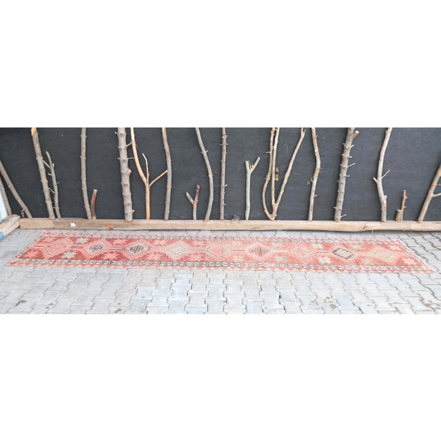 """Farmhouse 1950's Vintage Turkish Hand-Knotted Hallway Runner Rug - 2'6"""" X 12'9"""" For Sale - Image 3 of 11"""