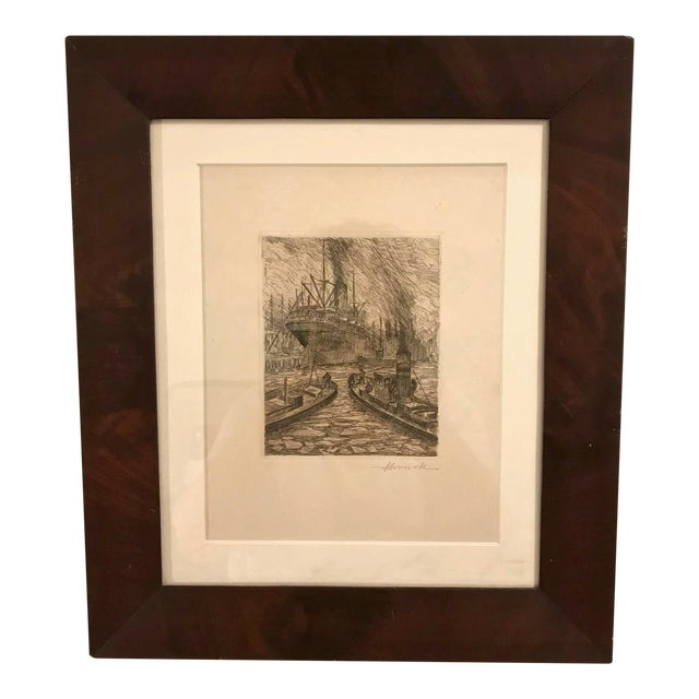 1900s Original Nautical Etching on Paper, Framed For Sale