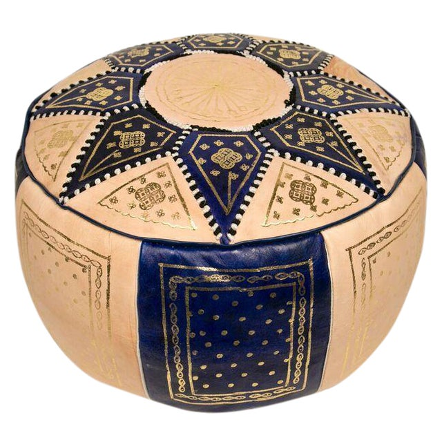 Moroccan Blue Pouf Ottoman - Image 1 of 3