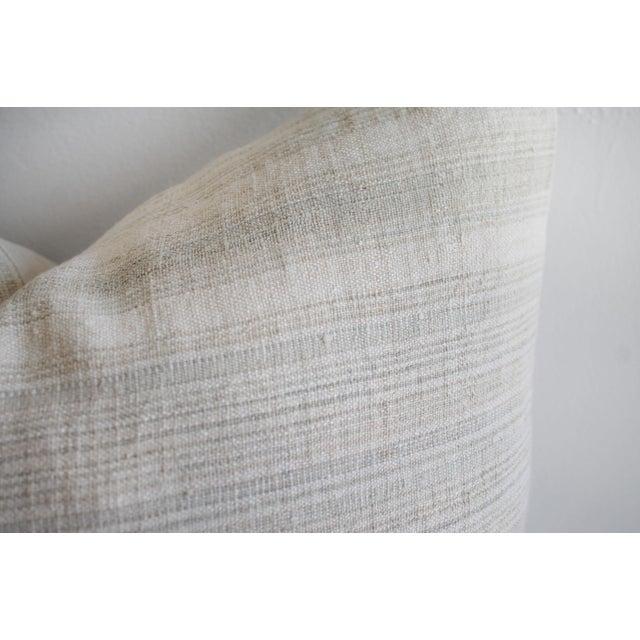 Vintage European Linen Stripe Textile Pillow For Sale - Image 4 of 8