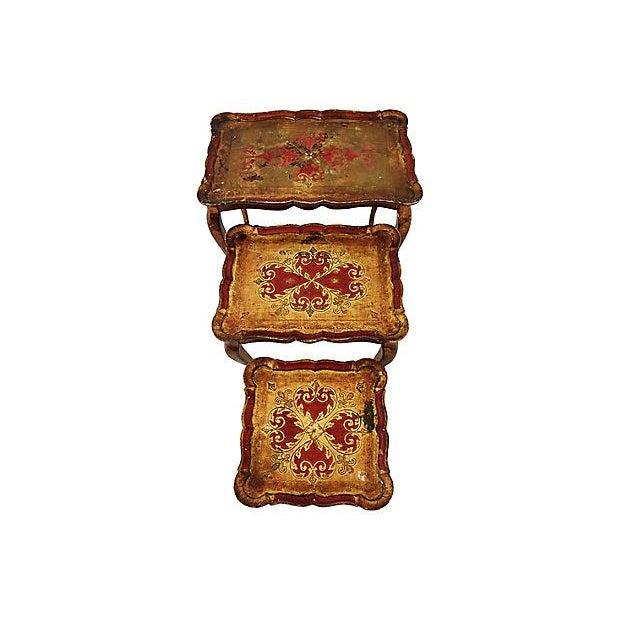 Adirondack 1950s Italian Venetian Florentine Nesting Tables - Set of Three For Sale - Image 3 of 13