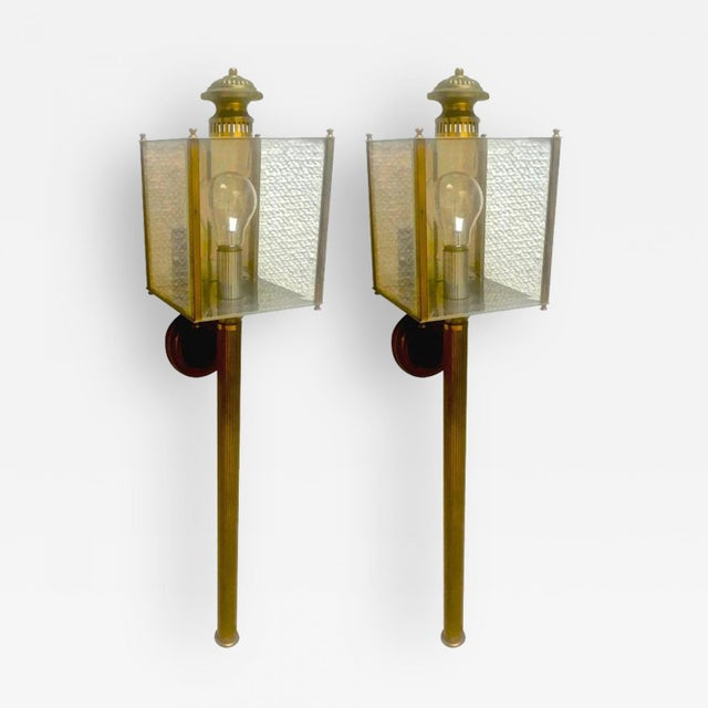 Hollywood Regency Maison Jansen Long Chicest Pair of 1950s Lantern Sconces in Vintage Condition For Sale - Image 3 of 3
