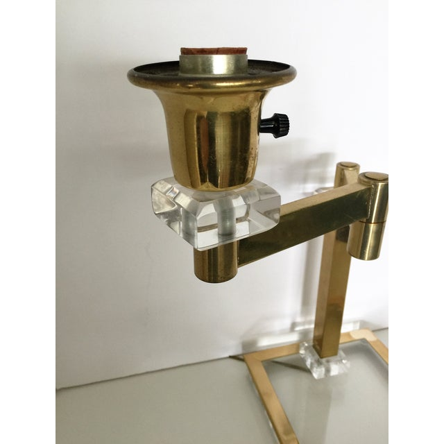 Vintage Italian Lucite and Brass Swing Arm Lamp - Image 5 of 5