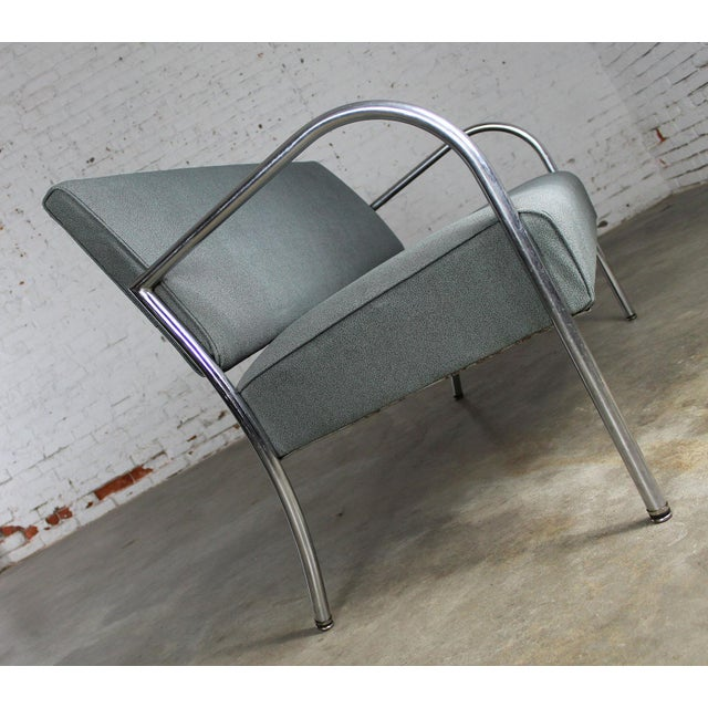 Art Deco Machine Age Streamline Moderne Royal Metal Co. Chrome and Upholstered Bench Sofa For Sale - Image 9 of 11