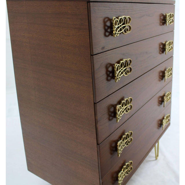 Mid Century Modern Pyramid Shape High Chest with Large Bow or Butterfly Pulls For Sale - Image 4 of 10