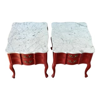 Antique Hammary French Provincial Marble Side Tables - A Pair
