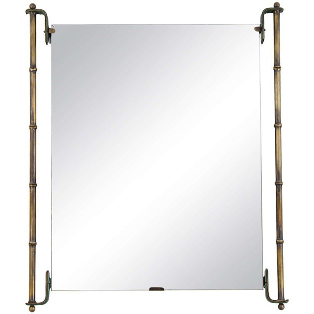 Mid-Century Modern Jacques Adnet Leather and Brass Frame Mirror For Sale - Image 3 of 3