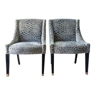 Travers Silk & Velvet Chairs, Pair For Sale