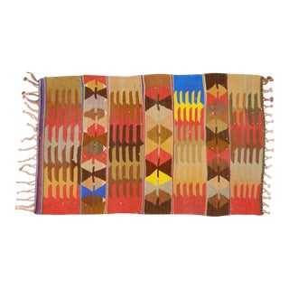 """1950s Turkish Tan and Red Wool Kilim Rug - 2'10""""x4'8"""" For Sale"""