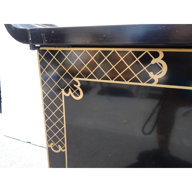 Vintage Mid Century Chinoiserie Oriental Asian Black Entry Table Cabinet For Sale - Image 10 of 13