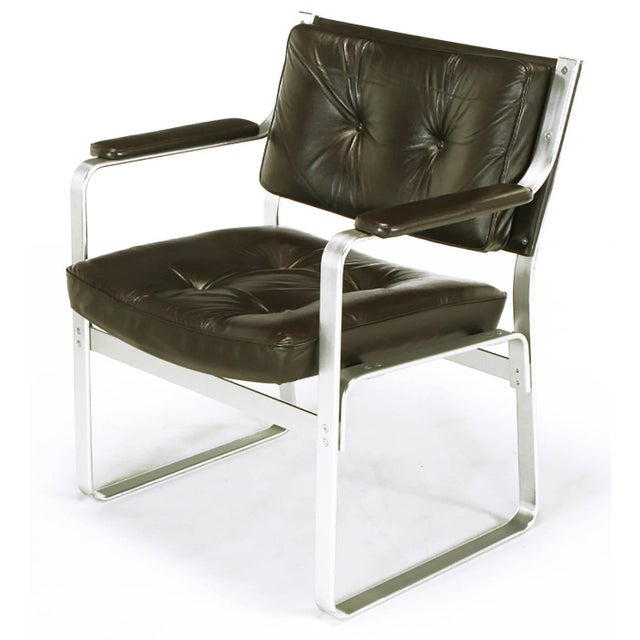 J.O. Carlsson Pair Karl-Erik Ekselius Leather and Aluminum Mondo Armchairs For Sale - Image 4 of 9
