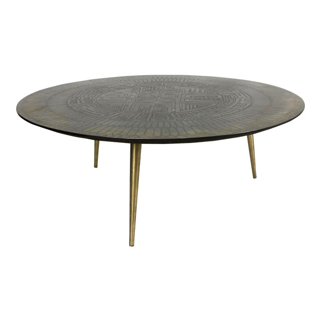Italian Etched Bronze Cocktail Table For Sale