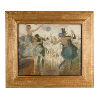 """Mid 20th Century """"Ballroom Swing"""" Figurative Oil Painting, Framed For Sale"""