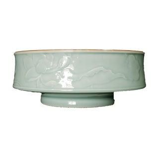 Hand Carved Celadon Bowl For Sale