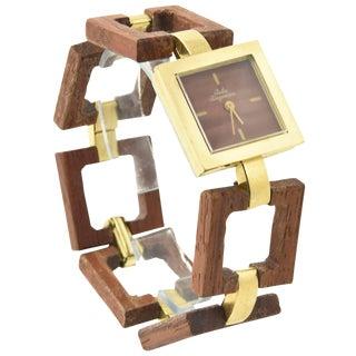 Jules Jurgensen Ladies Gold Plate Wood Mechanical Wristwatch For Sale